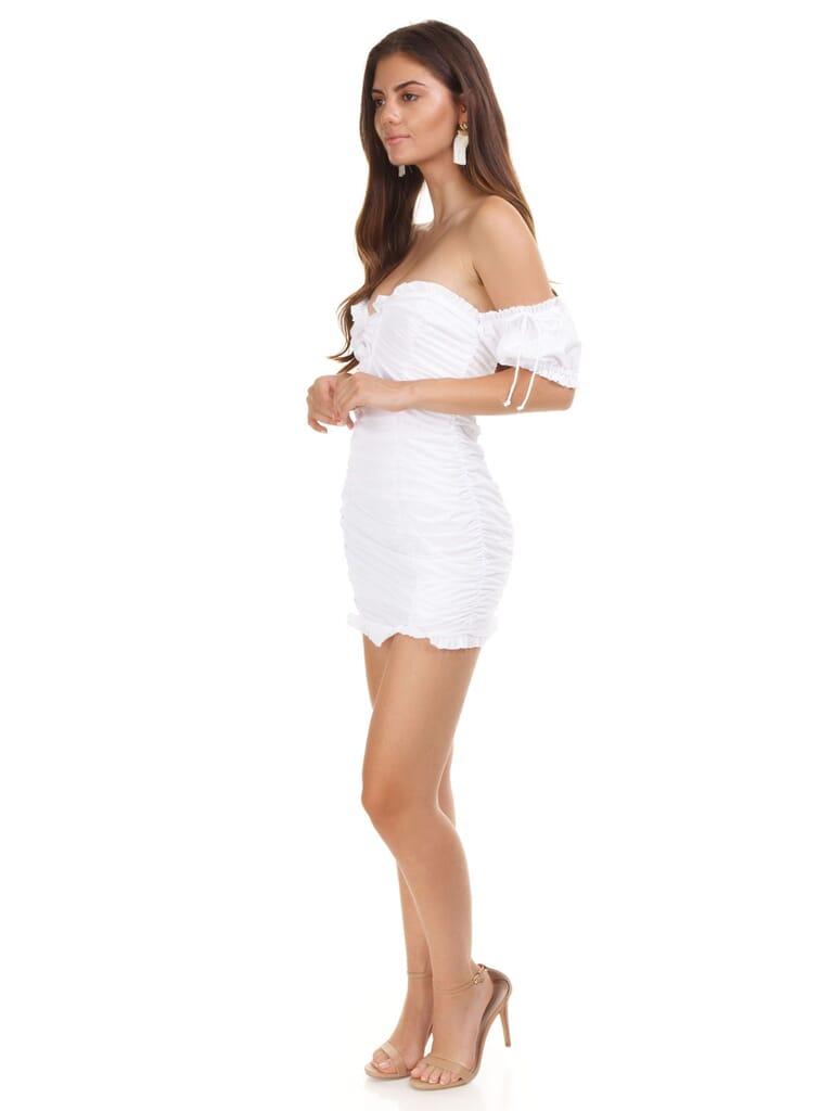 For Love & Lemons Jackson Shirred Mini Dress in White