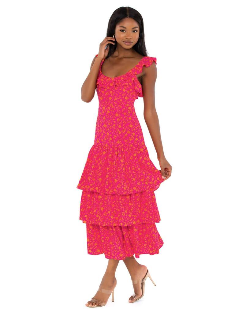 LIKELY Janie Midi Dress in Fuscia Orange Multi