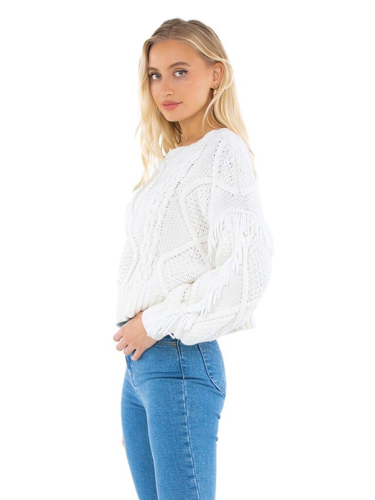 Line & Dot Jasper Fringe Sweater in Ivory