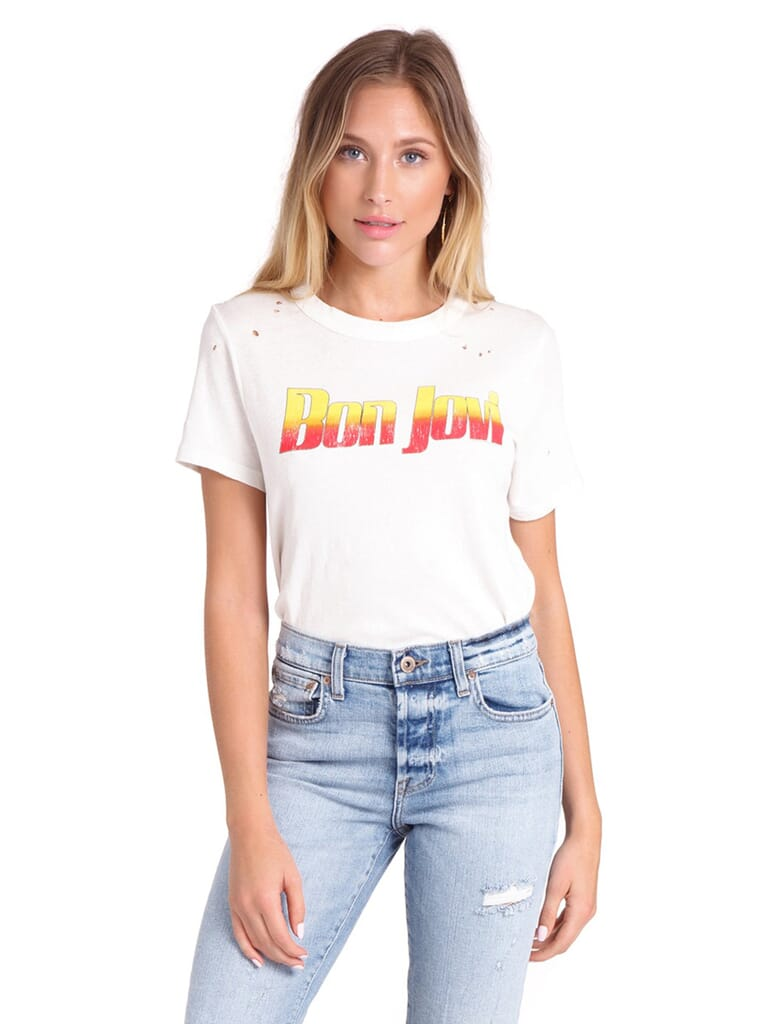 Chaser Jersey Bon Jovi Basic Tee in Vintage White