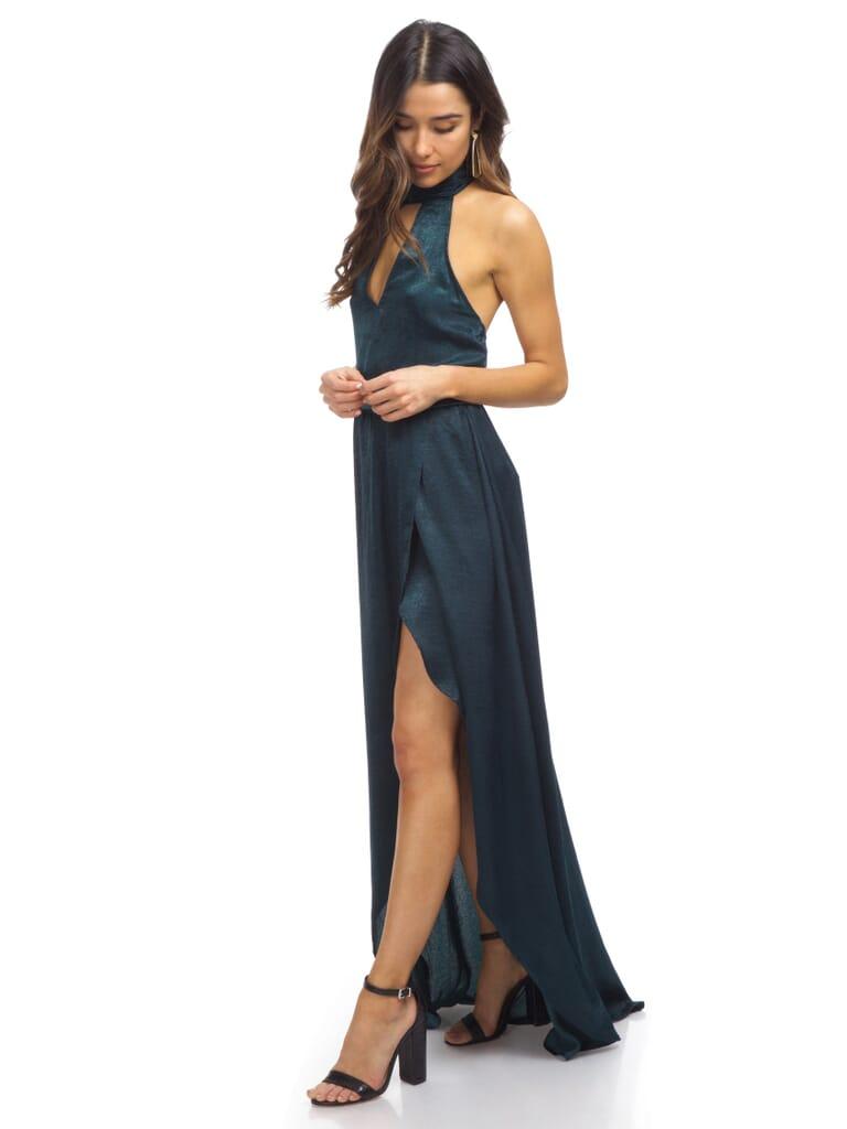 Show Me Your Mumu Karolina Collar Dress in Dark Forest Silky Satin
