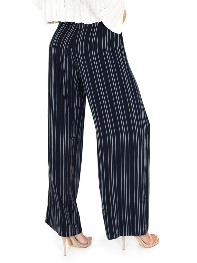 WAYF Keri Pleat Tie Waist Pant in Navy