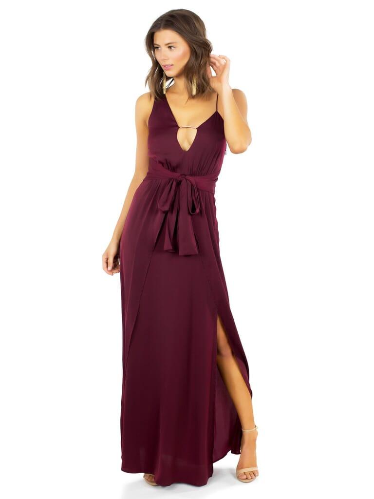 STYLESTALKER Kesen Maxi Dress in Aubergine