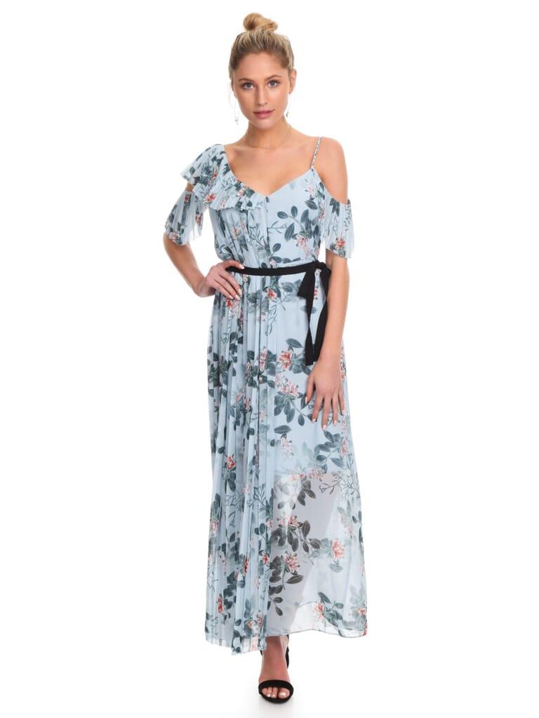 French Connection Kioa Drape Dress in Pavillion Blue