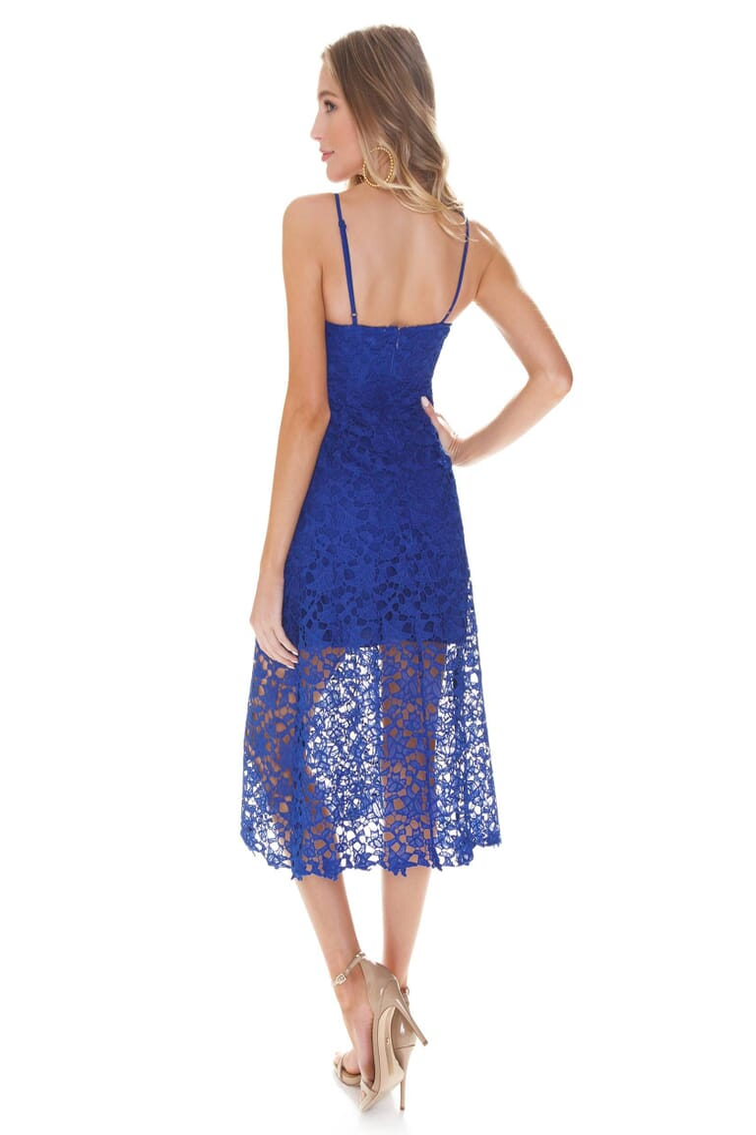 ASTR Lace A Line Midi Dress in Cobalt