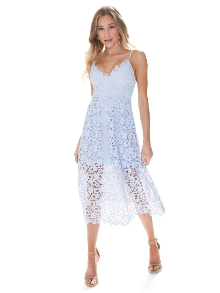 ASTR Lace A Line Midi Dress in Periwinkle