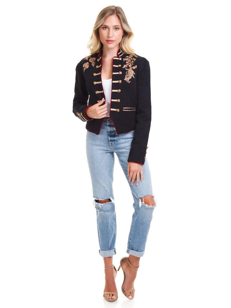 Free People Lauren Band Jacket in Black