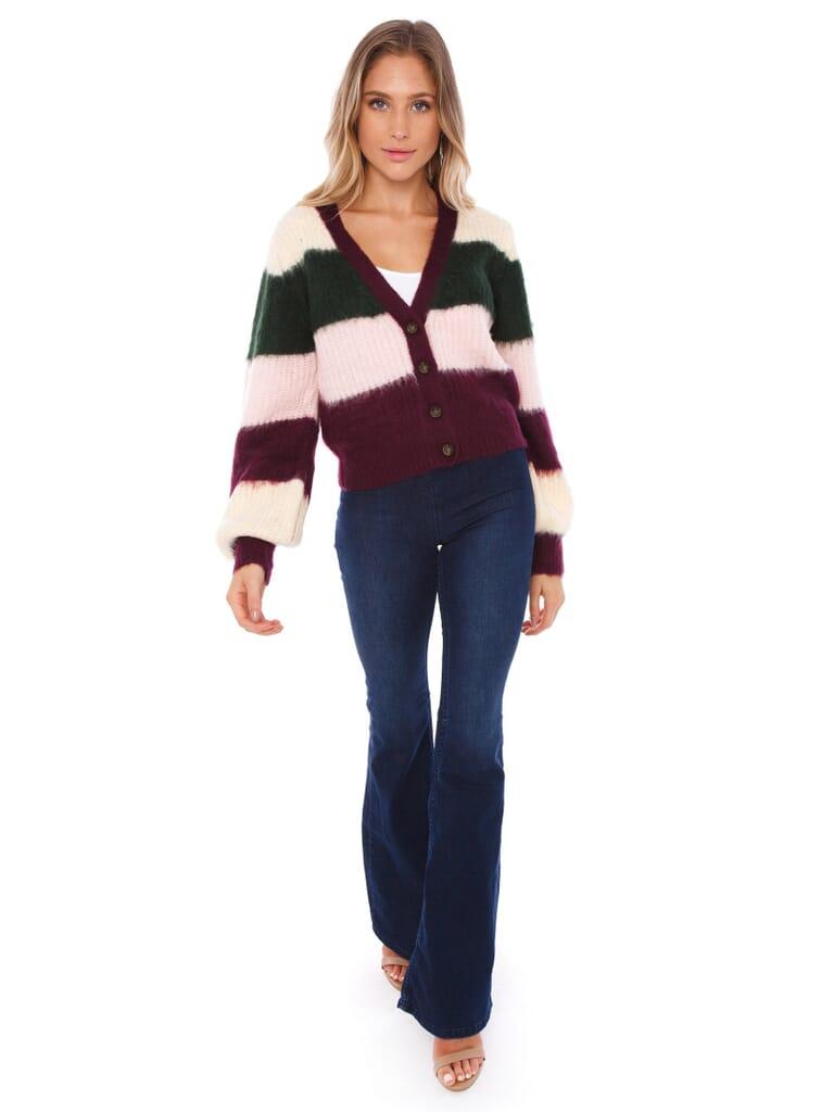 FashionPass Lauren Striped Sweater in Wine