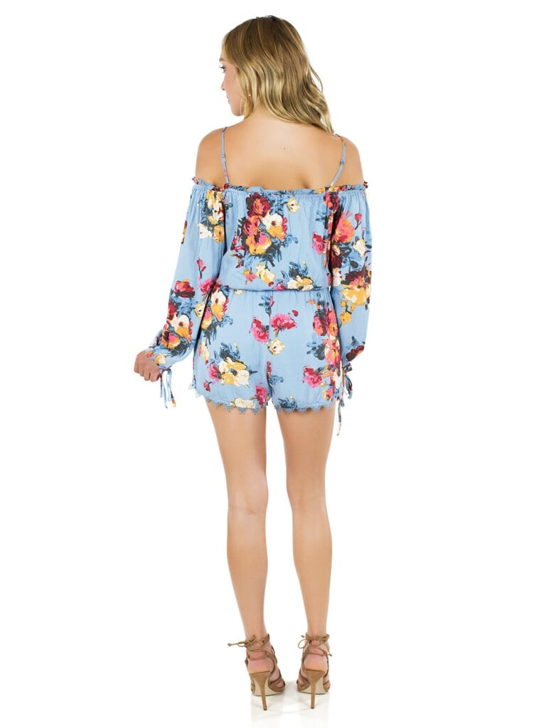 FashionPass Life Is Beautiful Romper in Sky Blue