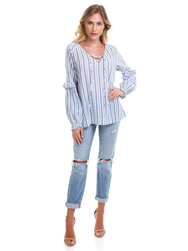 SANCTUARY Lila Lace Up Ruffle Sleeve Blouse in Indigo Stripe