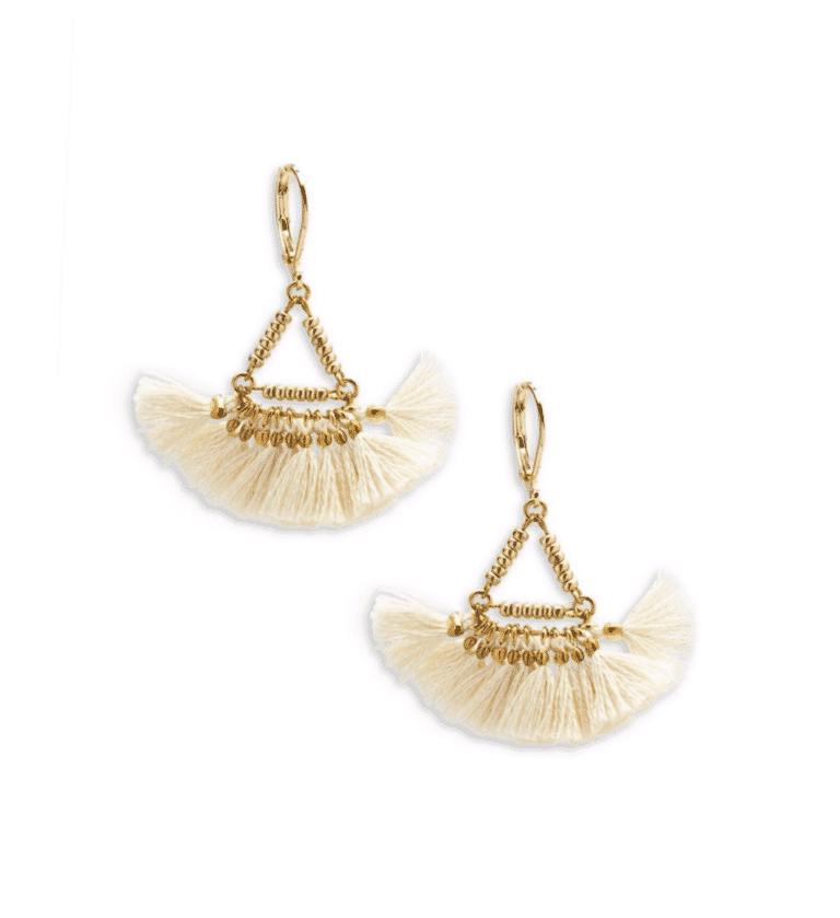 Shashi Lilu Tassel Earring in Ivory