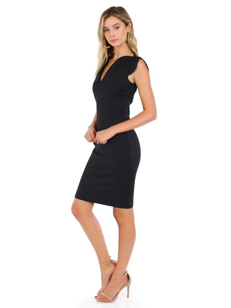 French Connection Lolo Stretch Dress in Black
