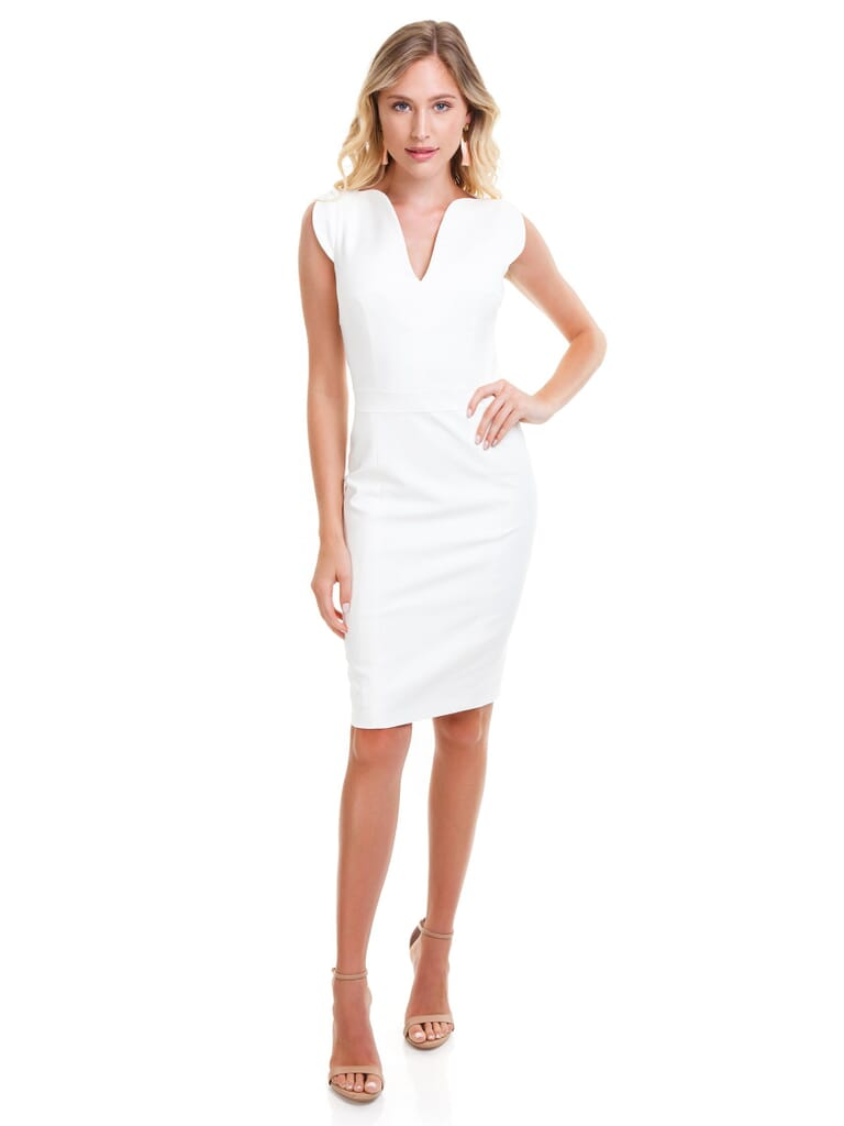 French Connection Lolo Stretch Dress in White