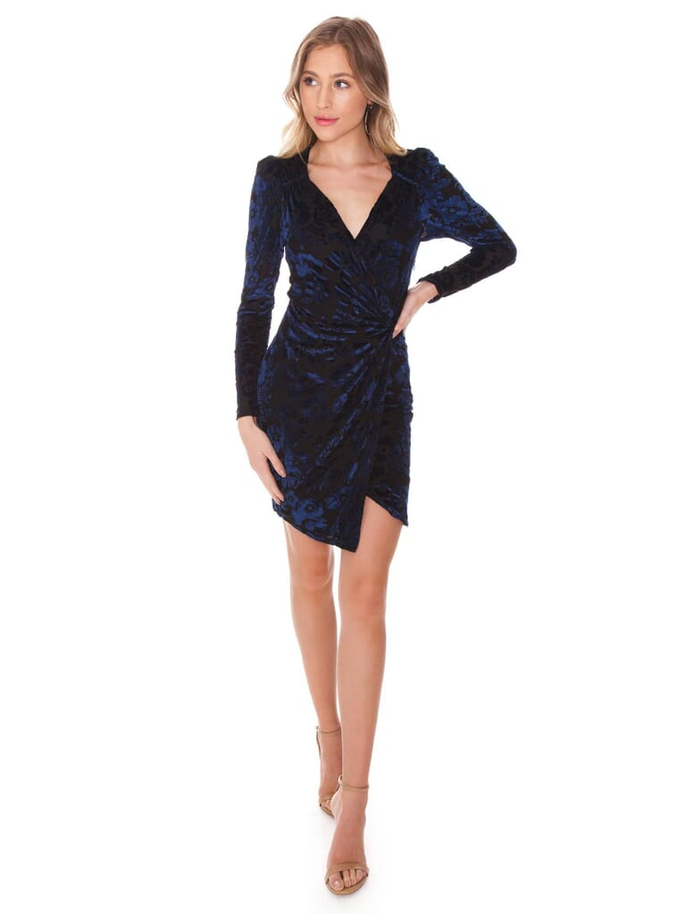 ASTR Long Sleeve Wrap Front Dress in Black/Navy Floral