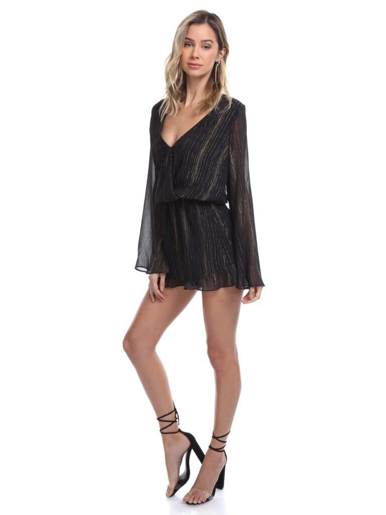 Show Me Your Mumu Loretta Romper in Sparkle And Shine Black