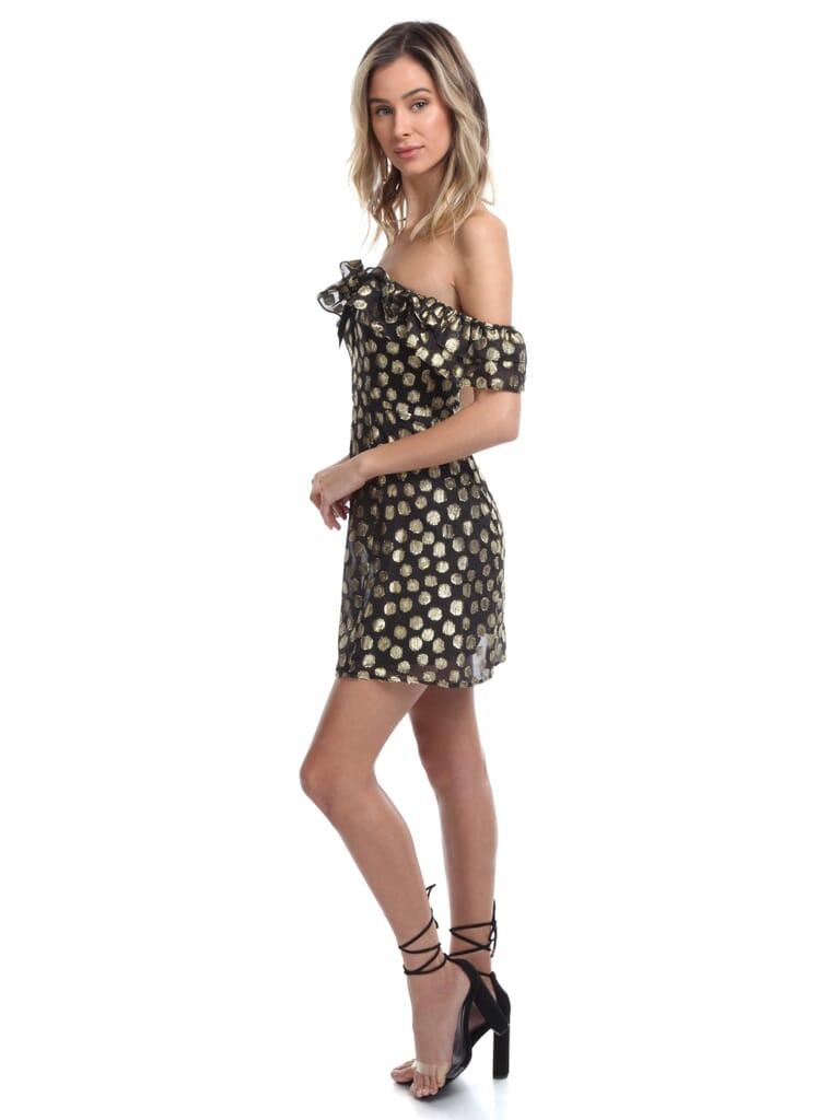 For Love & Lemons Lottie Mini Ruffle Dress in Black/Gold Dot