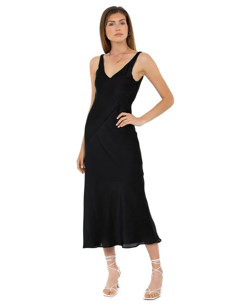 Line & Dot Loulou Satin Dress in Black