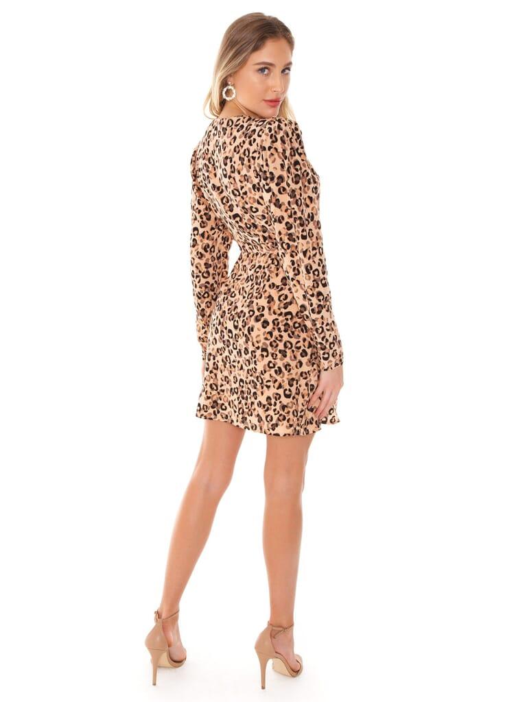 ASTR Ls Sweeart Wrap Dress in Leopard Print