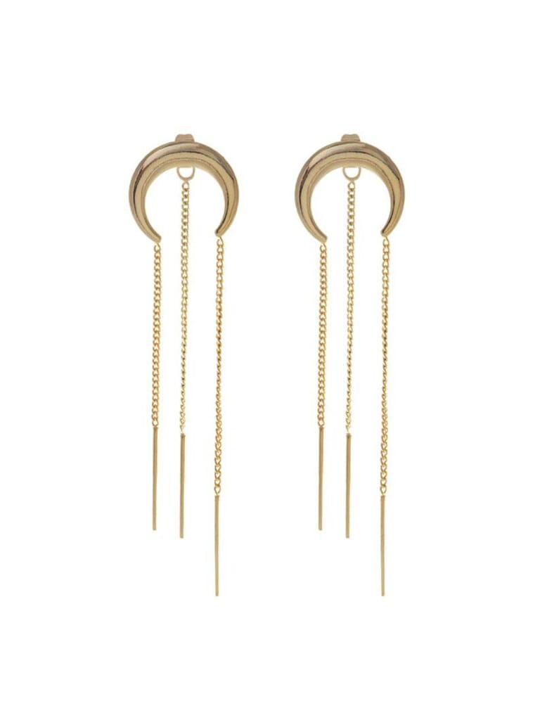 Wanderlust + Co Lunette Chain Gold Earrings in Gold