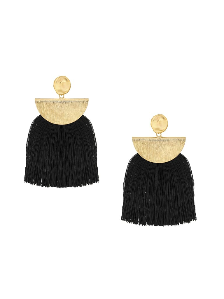 Five and Two Lydia Wide Tassel Fringe Earring in Black