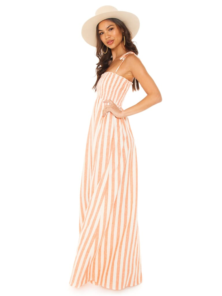 Show Me Your Mumu Maggie Maxi Dress in Dreamsicle Stripe Linen