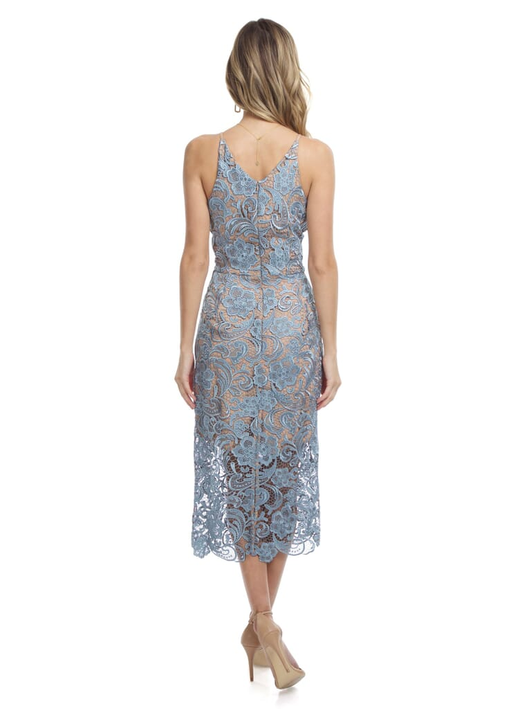 Dress the Population Marie Lace Midi Dress in Mineral Blue