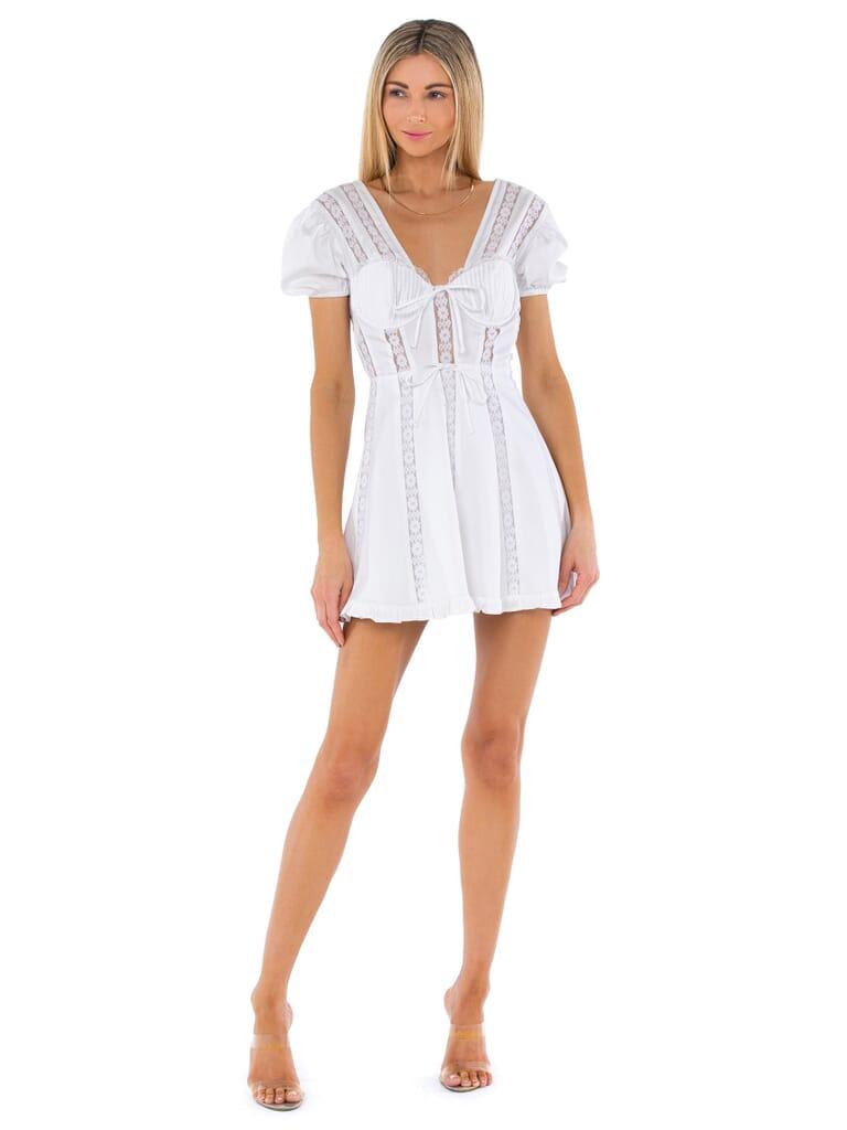 For Love & Lemons Maura Mini Dress in White