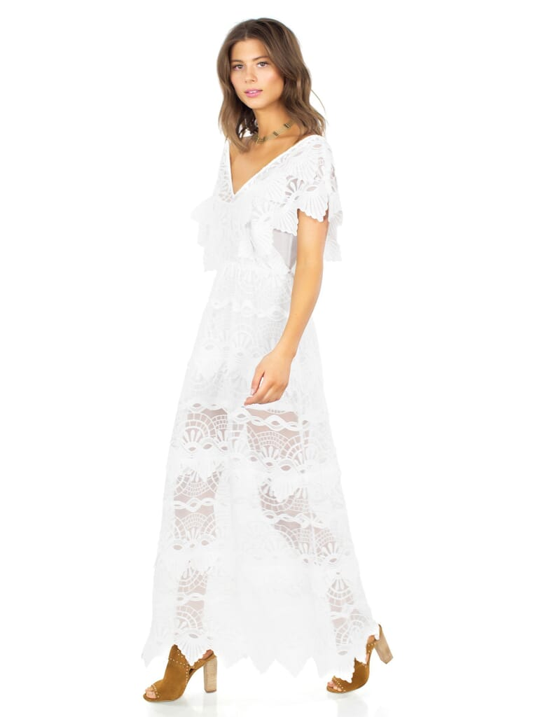 Nightcap Clothing Mayan Lace Gown in White