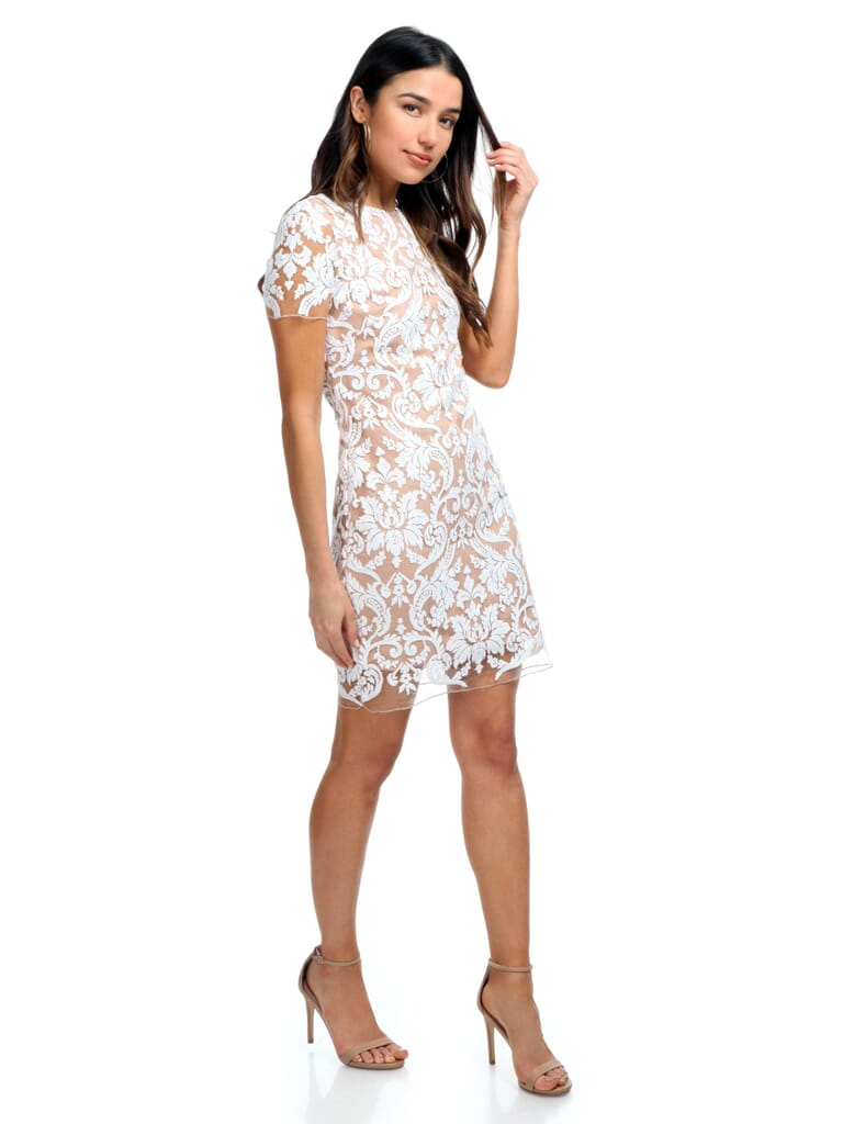Dress the Population Megan Sequin Lace Shift Dress in White/Nude