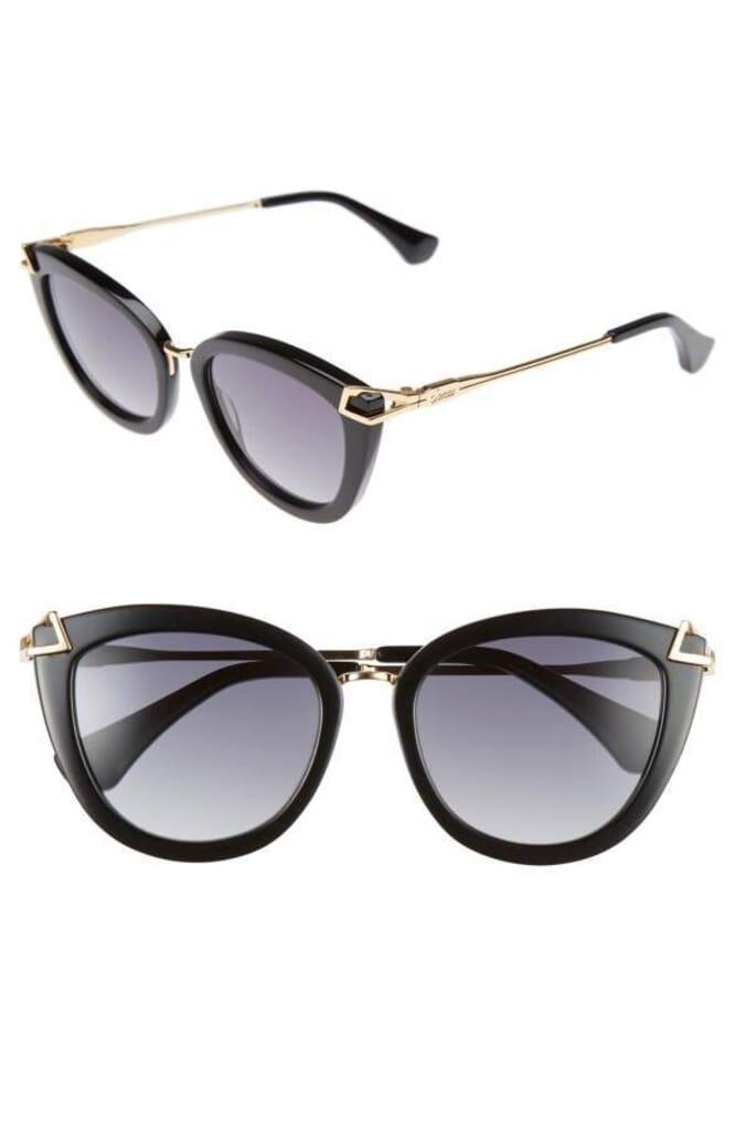 Sonix Melrose 51mm Gradient Cat Eye Sunglasses in Black