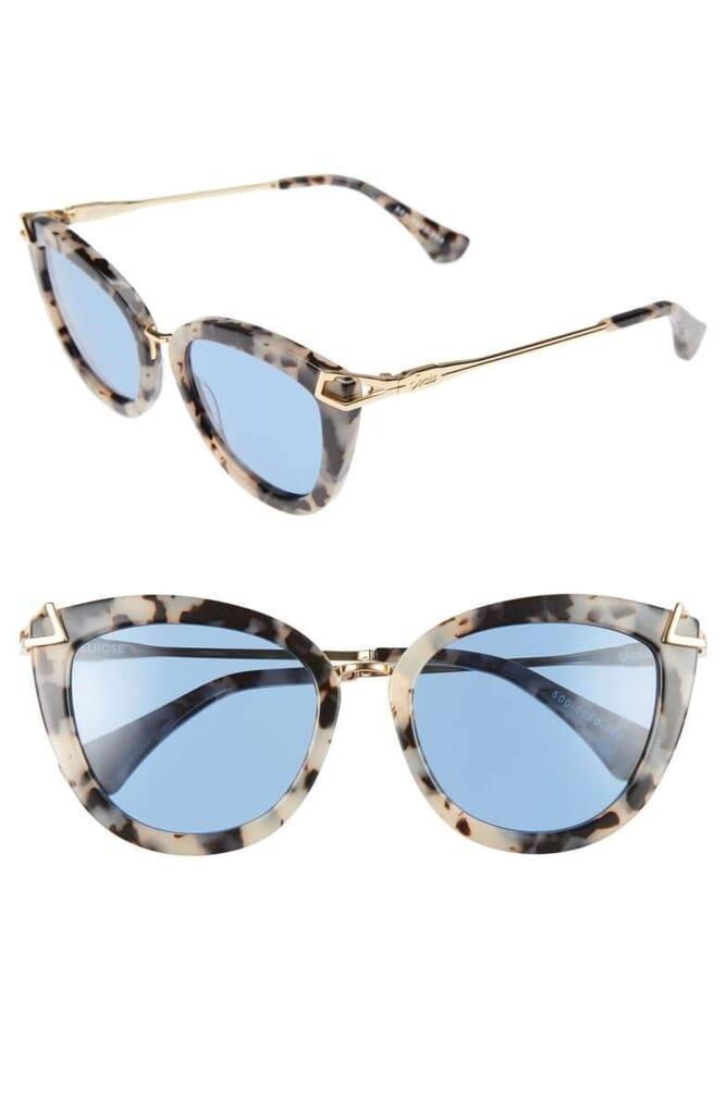 Sonix Melrose 51mm Gradient Cat Eye Sunglasses in Blue Fade/Milk Tortoise