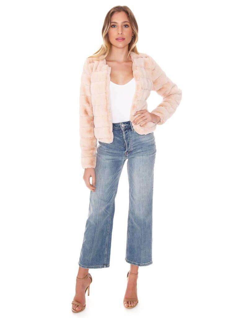 SAGE THE LABEL Midnight In Paris Fur Jacket in Pale Peach