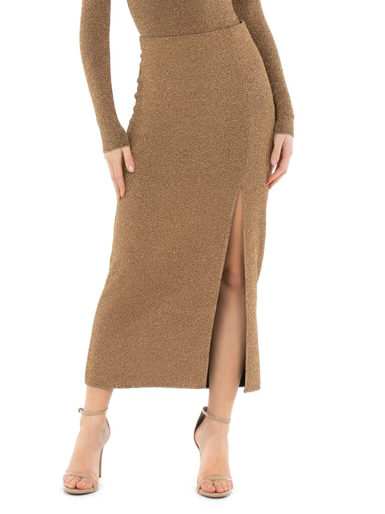 Show Me Your Mumu Miracle Midi Skirt in Gold Sparkle Shine