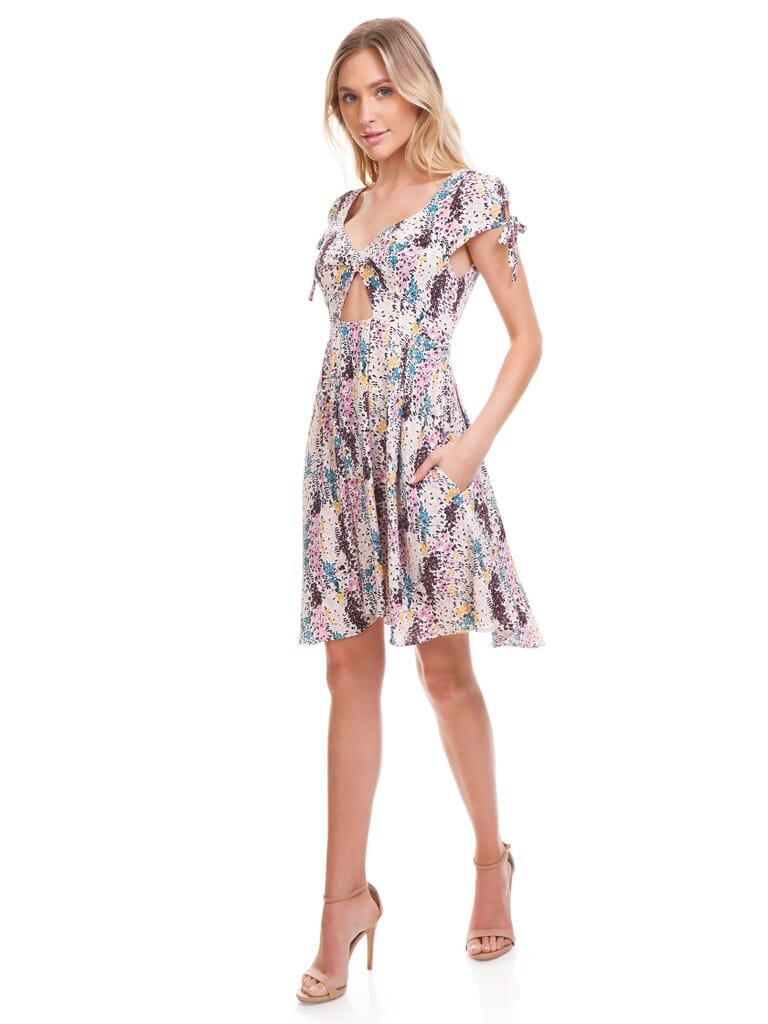 Free People Miss Right Mini Dress in Cream Combo