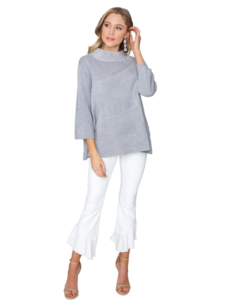 FashionPass Mock Neck Pullover Sweater in Charcoal