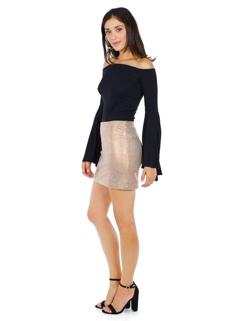 Free People Modern Femme Metallic Rose Gold Suede Mini Skirt in Metallic Rose Gold