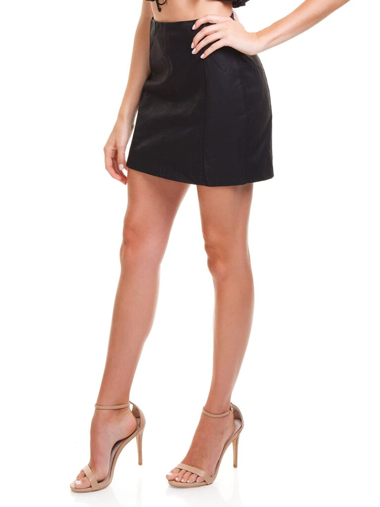 Free People Modern Femme Vegan Mini Skirt in Black