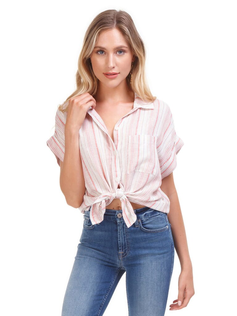 SANCTUARY Mod Short Sleeve Boyfriend Shirt in Desert Stripe