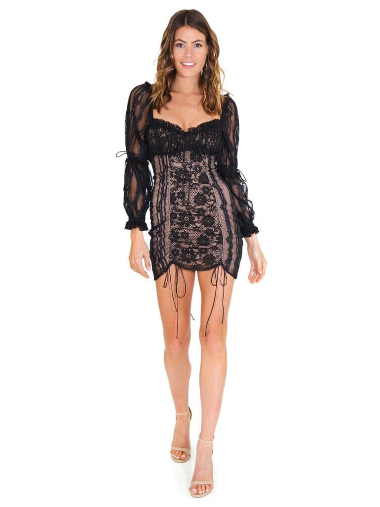 For Love & Lemons Monroe Mini Dress in Black