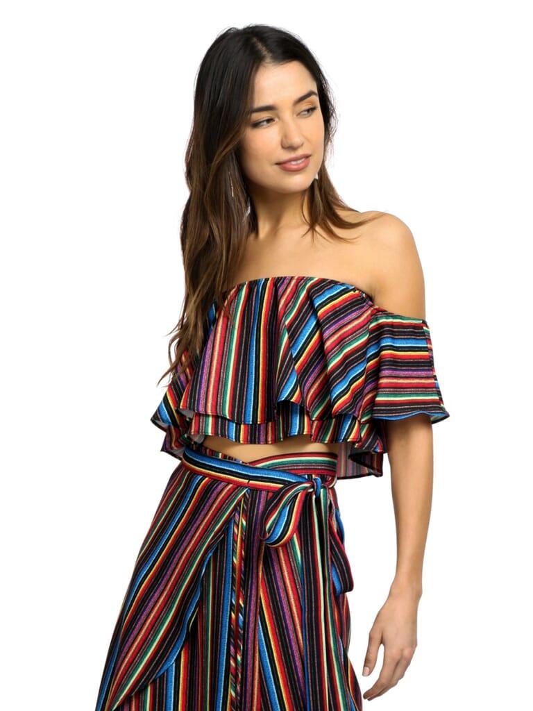 Show Me Your Mumu Nica Ruffle Top in Siesta Siesta Stripe Crinkle