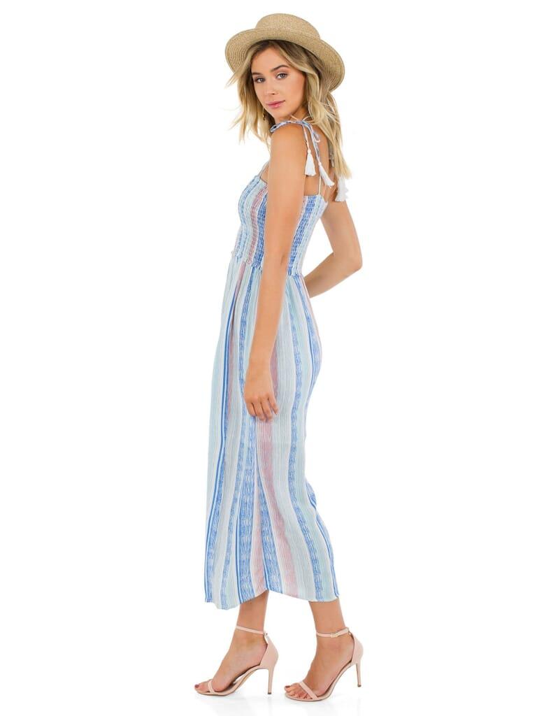 Lush Off Into  Sunset Dress in Multi Stripe