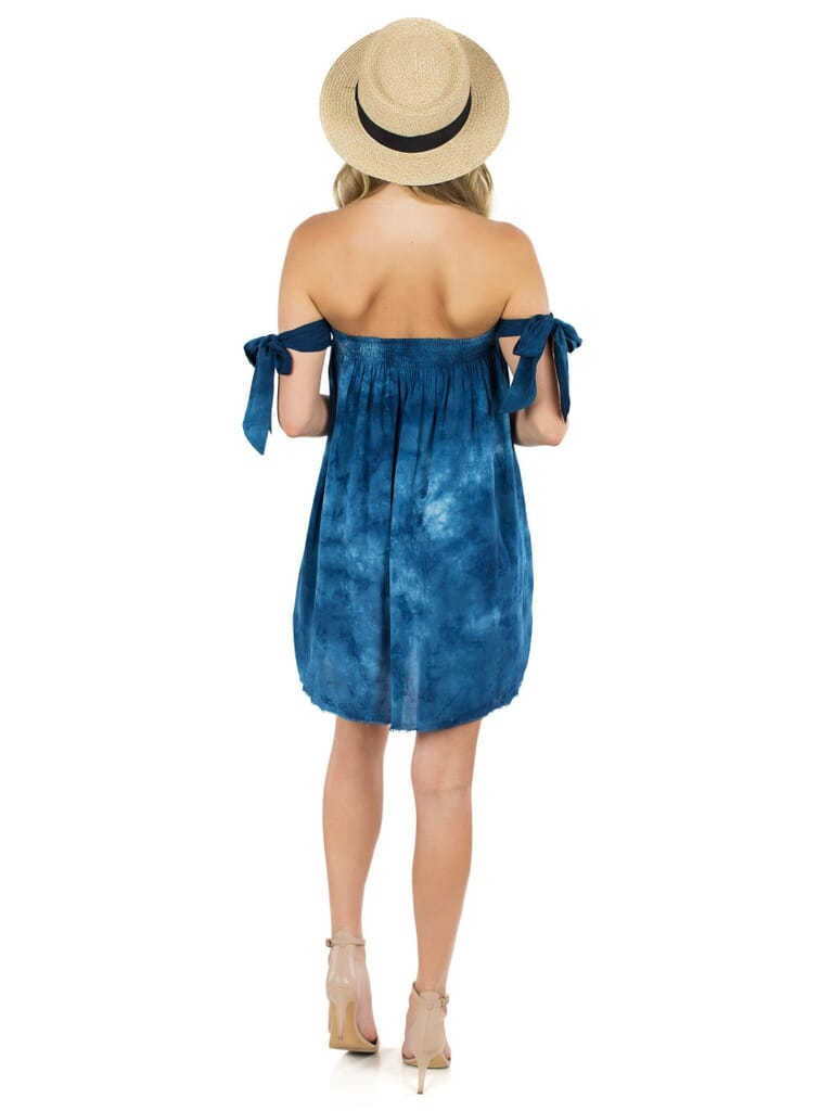 Blue Life Off Shoulder Dress in Mykonos Caribbean