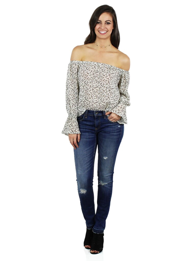 Lucca Couture Off Shoulder Ruffle Sleeve Top in Taupe