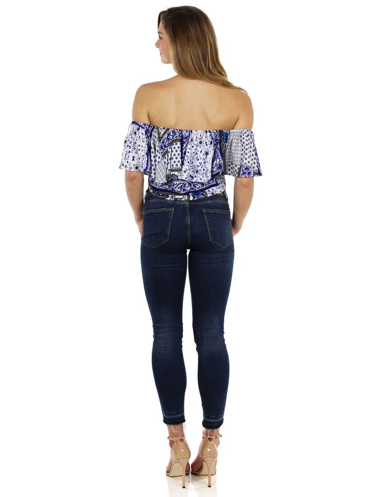 Lucca Couture Off Shoulder Ruffle Top in Blue