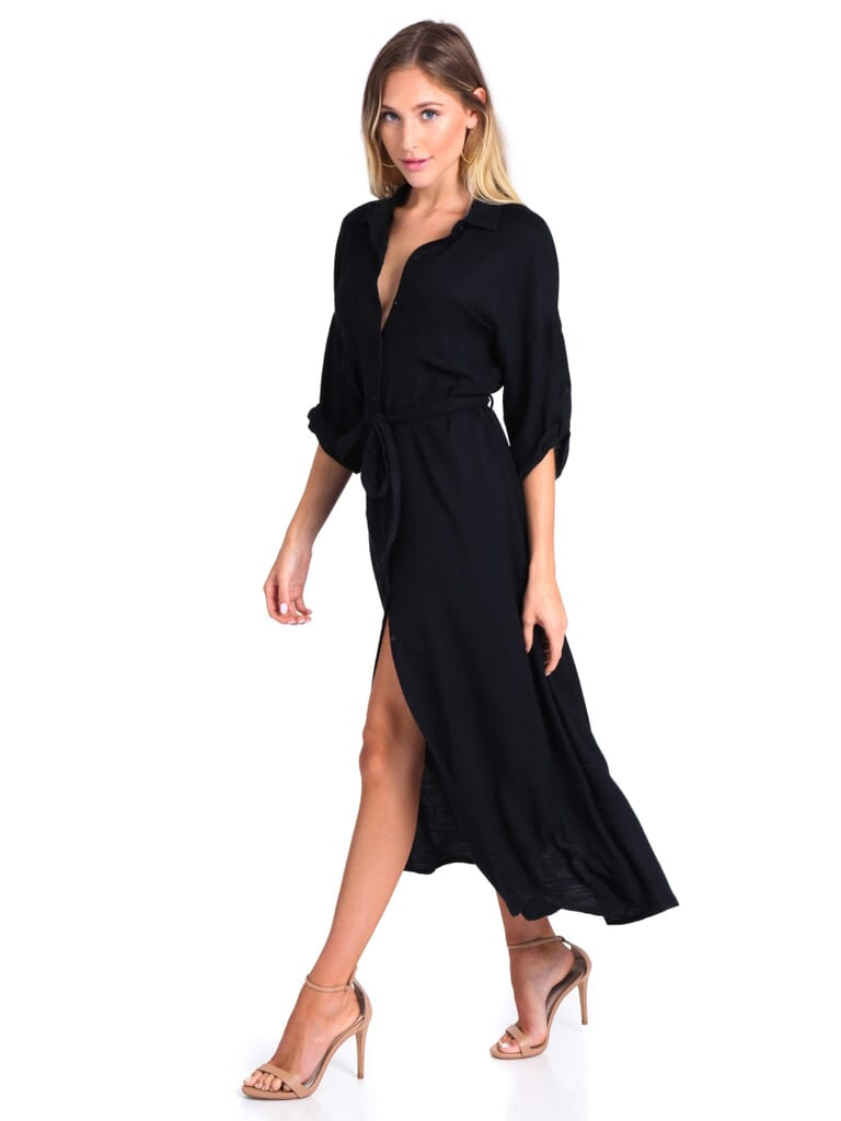 Lush Olivia Button Down Shirt Dress in Black
