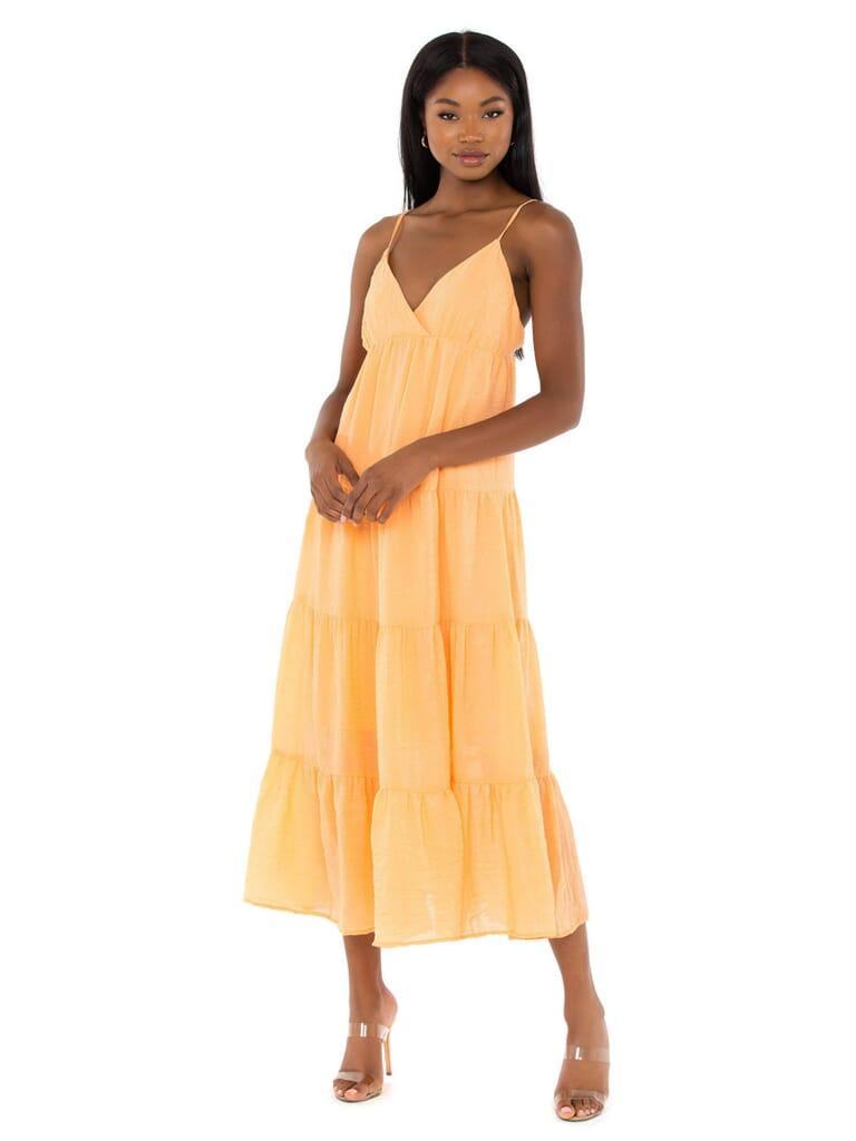 WAYF Olivia Tiered Maxi Dress in Orange