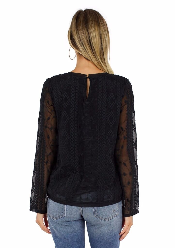 Moon River Organza Lace Top in Black