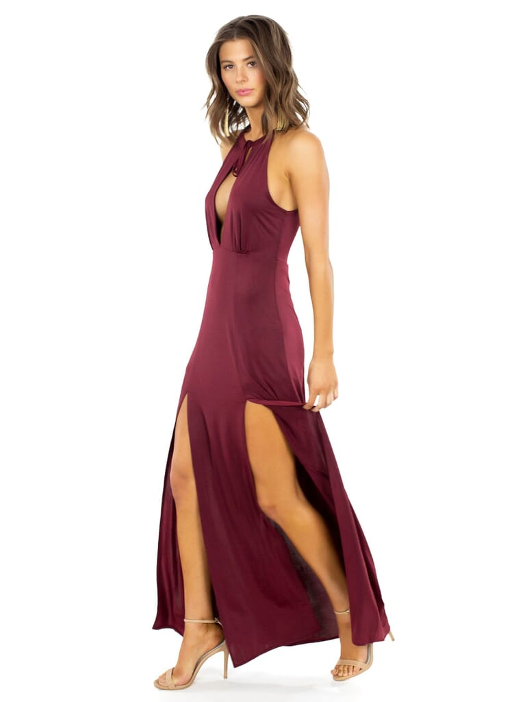 WYLDR Out Of My League Maxi Dress in Burgundy