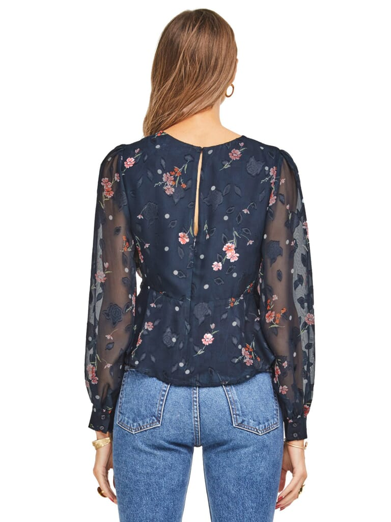 ASTR Paisley Top in Navy Floral Dot