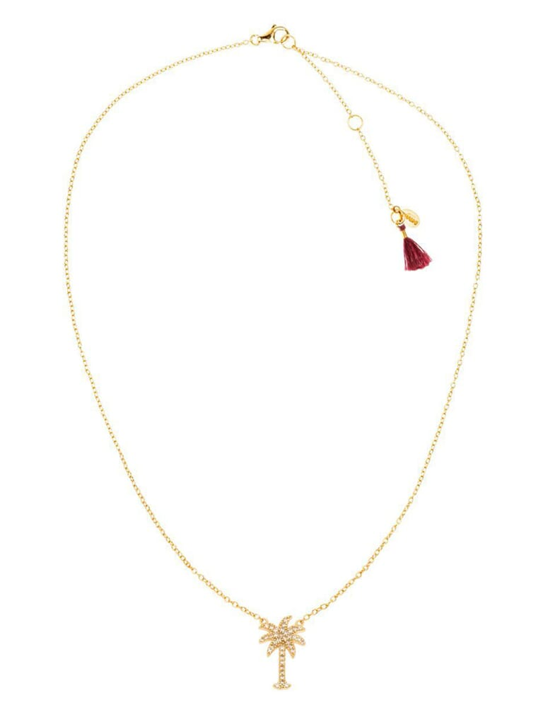 Shashi Palm Tree Pave Necklace in Gold/Pave